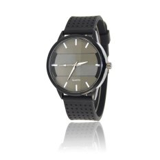 Cocotina Cool Mens Boys Round Dial Black Silicone Band Quartz Casual Student Jelly Wrist Watch - White Pointer