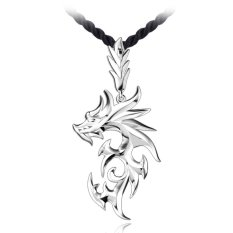 Cocotina Cool Mens Silver Color Stainless Steel Dragon Pendant Necklace With Faux Leather Chain