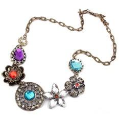 Cocotina Ethnic Style Retro Womens Crystal Flower Pendant Choker Chain Bib Statement Necklace Fashion Jewellery (Intl)