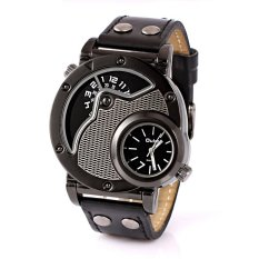 Cocotina Mens Russian Army Military Dual Time Movement Black Faux Leather Band Quartz Casual Wrist Watch - Black Dial (Intl)
