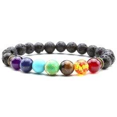 Cocotina Men's Stylish Reiki 7 Gemstone Chakra Lava Rock Stone Spacer Healing Bead Bangle Bracelet - INTL