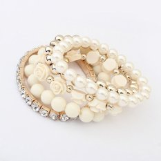 Cocotina Trendy Ladies Multilayer Flower Beads Stretch Faux Pearl Rhinestone Jewellery Bangle Bracelet – Beige (Intl)
