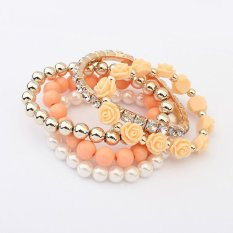 Cocotina Trendy Ladies Multilayer Flower Beads Stretch Faux Pearl Rhinestone Jewellery Bangle Bracelet - Orange (Intl)
