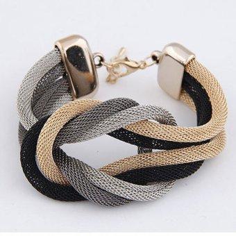 Cocotina Tung Fashion Wanita Gelang Simpul Rantai Logam Perhiasan (Hitam, Silver Dan Gold)
