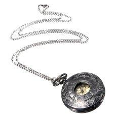 Cocotina Vintage Mens Roma Numerals Steampunk Clock Necklace Chain Alloy Quartz Pocket Watch – Black