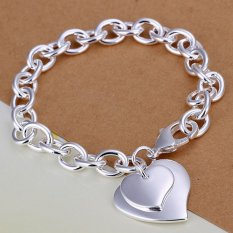 Cocotina Womens Fashion Heart-shaped Jewellery Hand Chain Charm Bracelet (Silver)