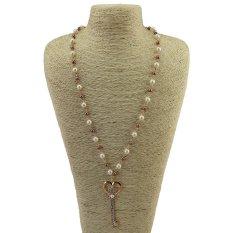Cocotina Womens Imitation Pearl Crystal Rhinestone Key Shape Pendant Long Sweater Chain Necklace Fashion Jewellery (Intl)