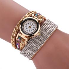 Colorful Drill Weaving Belt South Korea Cloth With Soft Nap Fashion Woman Quartz Watch Cream-colored