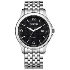 COMTEX Business Luxury Watch Men's Watch Wrist Watch Stainless Steel Band Round Bracelet (Black) (Intl)