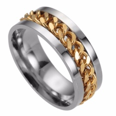 Cool Man Punk Style Stainless Steel Spinner Chain Ring Handsome Band Wedding Rings (Blue) - intl