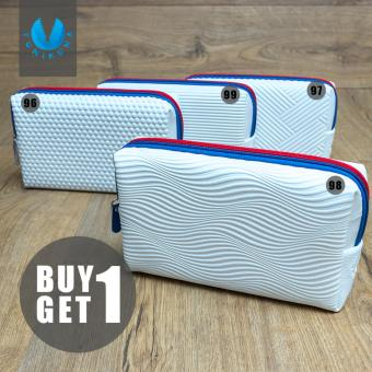 Cosmetic Pouch Long Champ / Tas Kosmetik / Tempat Make Up / DompetYK Motif Zigzag - Putih