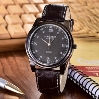 Costie Land - Jam Tangan Pria- Body Black/Black Dial - CL-5234G-BB-Brown Leather