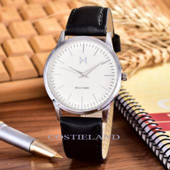 Costielan-Bonico– JamTangan Pria - Body Silver – White - Dial –Black Leather