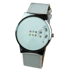 Creative Colorful Carousel Scale Pu Leather Belt Ladies Watches White (Intl)
