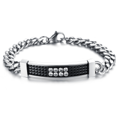 Creative Men's Retro Diamond Lattice Titanium Steel Jewelry Bracelet Jewelry Wholesale (Black)