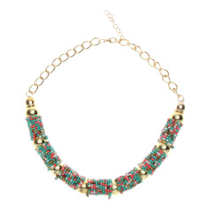 Crystal Choker Chunky Statement Bib Knit Necklace Charm Chain Color (Intl)