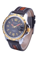 Curren 8104 Brand Luxury Wristwatches Men Military Leather Sports Watch Auto Date Gold Shell Black Surface (Intl)