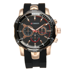 CURREN 8163 Men's Fashion Silicone Strap Three Decorative Sub-dials Analog Quartz Watch - Rose Gold + Black