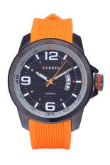 CURREN 8174 Men Silicone Waterproof Quartz Stainless Steel Analog Display Wristwatch (Orange) (Intl)