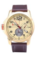 Curren 8182B Luxury Brand Quartz WristWatch Leather Strap Waterproof Quartz Watch Gold