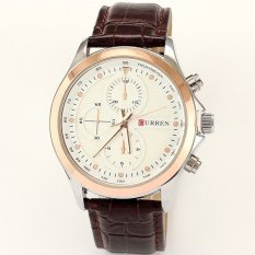 Curren Brand Watch Brown Leather Strap Mens Quartz Watch Fashion Casual Style Quartz Military Waterproof Watch Montre Homme (Intl)