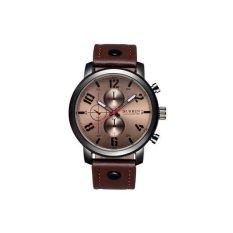 CURREN Genuine Leather Straps Quartz Watch Men Luminous Analog Fashion Casual Wristwatch——Brown Black