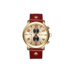 CURREN Genuine Leather Straps Quartz Watch Men Luminous Analog Fashion Casual Wristwatch——Red Red