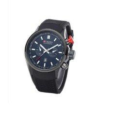 Curren Men Black Silicone Strap Live Waterproof Sport Watch 8175