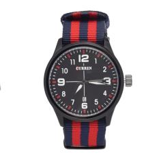 Yika Luxury Curren Men's Brands Of Men's Nylon Man Popular Sport Quartz Watches (Black + White) (Intl)