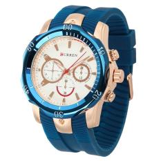 CURREN Men's Fashion Silicone Strap Three Decorative Sub-dials Analog Quartz Watch - White + Rose Gold + Blue