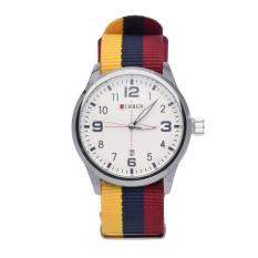 GETEK Luxury Curren Men's Brands Of Men's Nylon Man Popular Sport Quartz Watches (Silver + White)