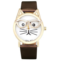 Cute Glasses Cat Women Analog Quartz Dial Wrist Watch Brown
