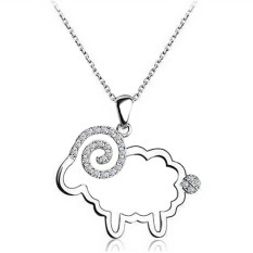 Cute Small Sheep Pendant Necklaces Shiny Rhinestone Studded Women Jewelry LB247 Silver