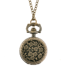 Cyber Bronze Steampunk Quartz Necklace Pendant Chain Clock Pocket Watch (Flowers)