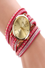 Cyber Fashion Rhinestone Rivet Circle Belt Synthetic Leather Bracelet Watch Wrist Watches (Rose Red)