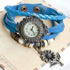 Cyber Quartz Sunflower Weave Wrap Synthetic Leather Bracelet Women's Wrist Watch 8 Colors (Light Blue)
