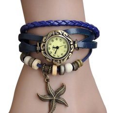 Sunwonder Quartz Weave Wrap PU Leather Star Pendant Bracelet Wrist Watch (Blue) (Intl)
