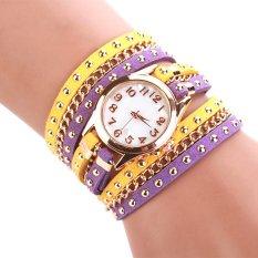 Cyber Women Rivet Punk Three Strap Chain Watch Wrap Circle Wristwatch