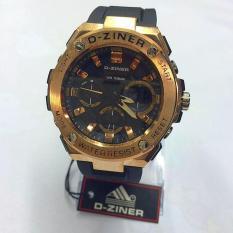 D ziner Dual Time Jam Tangan Pria Original Rubber Strap DZ 132 S .