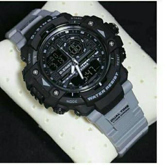 D-ziner DZ6501 Dual Time Jam Tangan Pria Rubber Strap - (Abu-Hitam