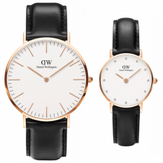 Daniel Wellington Couple Set Classic 40mm & Classy 26mm Sheffield Rose Gold - Jam Tangan Couple - Hitam Strap Kulit/Leather - Ring Rose Gold