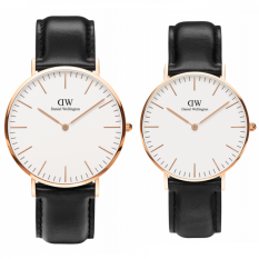 Daniel Wellington Couple Set Classic Sheffield 40mm & 36mm Rose Gold Case - Jam Tangan Couple - Hitam