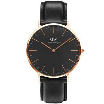 Daniel Wellington DW00100127 Jam Tangan Classic Black Sheffield Horloge 40MM Men Leather Watch - Black Gold