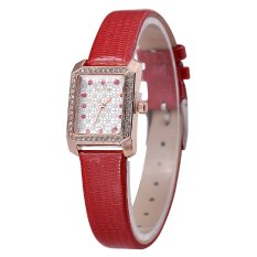 Diamond Imitation Rectangle Case Women Dress Watch - Intl