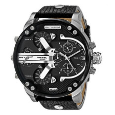 Diesel Luxury Men's Big Dial Black Leather Band Strap Watch (DZ7313) - Intl