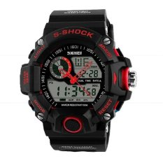 Digital Dual Time Watches Men Fashion Man Sports Waterproof Watches Luxury Brand Military Army Reloje Red (Intl)