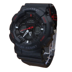 Digitec Dual Time - Jam Tangan Sport Pria - Rubber Strap - DG 2032 Black Red