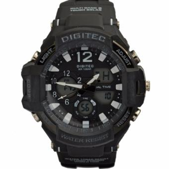 Digitec Men's DG2094BW Dual Time - Jam Tangan Pria Sport Watch - Strap Resin - Black