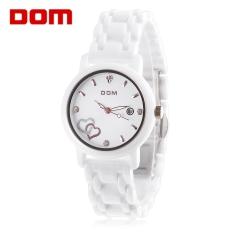 DOM T - 580 Female Quartz Watch Date Luminous Display 20ATM Sapphire Mirror Ceramic Band Wristwatch (White)