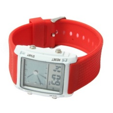 Dual LCD Display Colorful LED Digital Watch / Utility Chronograph Sport Watch (Red)